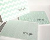 Modern Thank You Cards - Mint Thank You Notes, Chevron Stripes Herringbone Geometric Stationery Set Bright Aqua Mint Thank You Card Set