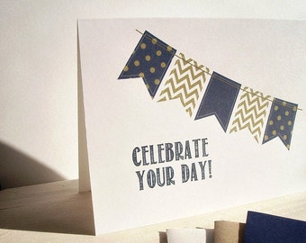 Bunting Banner Card - Birthday Card, Navy Gold Blue Festive Banners, Chevron Flags Polka Dots Stripes, Mother's Day Card, Father's Day Card
