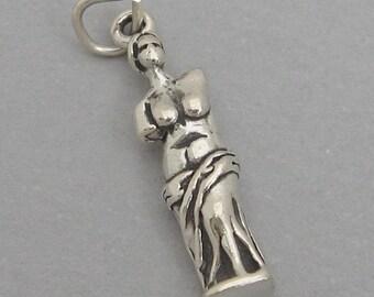 Sterling Silver 925 Charm Pendant 3D VENUS DE MILO Statue 4114