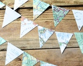 Vintage Map Triangle Garland  - 6, 8, 10, 15 or 30 feet of bunting