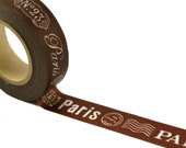 Washi tape PARIS Address & Post Mark on CHOCOLATE BROWN