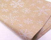 24 sheets of Tissue Paper - Kraft Brown & White Snowflakes Christmas paper - 15 x 20 inch 100% recycled - Packaging and Gift Wrapping