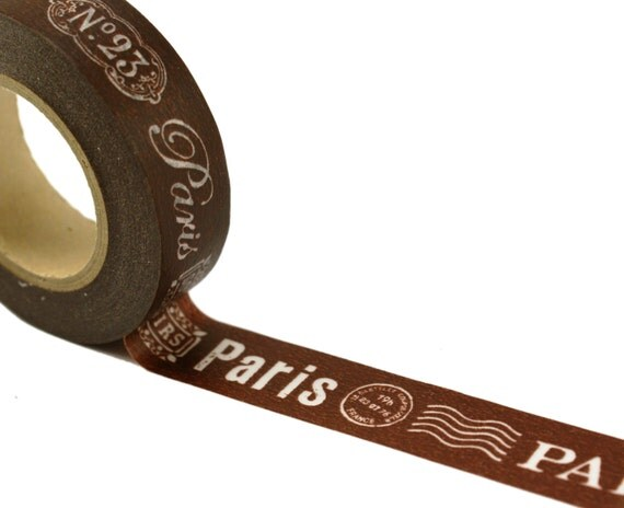 Washi tape PARIS Address & Post Mark on CHOCOLATE BROWN