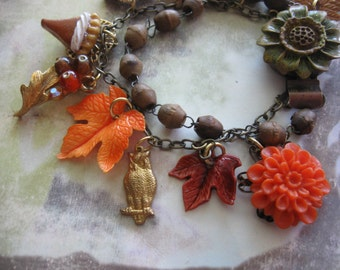 Autumn leaves are falling.vintage rosary bead assemblage bracelet