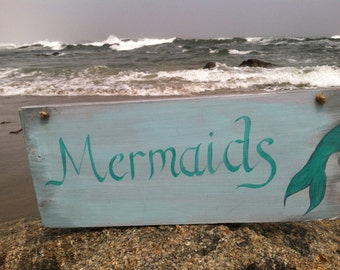 Hand Painted Mermaids Sign, Mermaid Cove Beach Cottage Home Decor, Wall Art, Home And Living, Girls Room Decoration