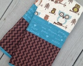 Modern Handmade Baby Infant Toddler Quilt Blanket Owls Brown Blue Chevron ready to ship