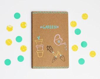 Garden Journal, Illustrated Notebook, Lined Notebook, Idea Notebook, Illustration, Hand Drawn, small gift, hostess gift, housewarming gift