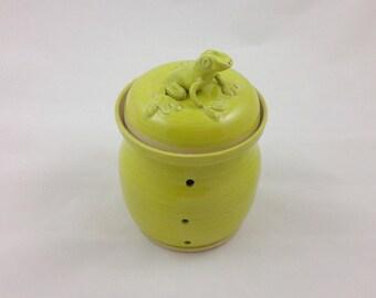 Chartreuse Frog Garlic Jar Handmade Pottery by Daisy Friesen