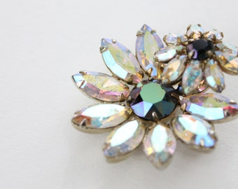 Sherman brooch and earrings - aurora borealis demi set - signed Sherman Jewelry - daisy flower brooch