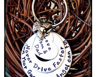 Personalized Hand Stamped New Driver Keychain