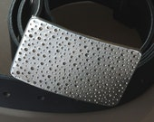 """Silver RAIN Stainless Steel Belt Buckle Hypoallergenic DOTS Hand Forged Polka Dot fits 1/2"""" Belt for Blue Jeans Signed by Robert Aucoin"""