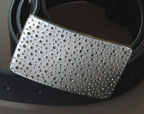 """Silver RAIN Belt Buckle Stainless Steel Hypoallergenic DOTS Hand Forged Polka Dot for 1.5"""" Belt for Blue Jeans Design / Signed Robert Aucoin"""