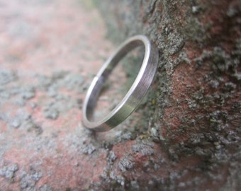 Simple Plain Sterling Silver Band Ring, Wedding Band, Stack Ring (G)