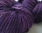 Plum, purple hand dyed Merino silk single ply worsted yarn, Made to Order