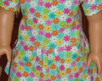 Knit Floral Drop Waist Dress For American Girl Or Similar 18-Inch Dolls