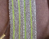 Sash Handwoven with Handspun Natural Gray Wool and Green Stripe