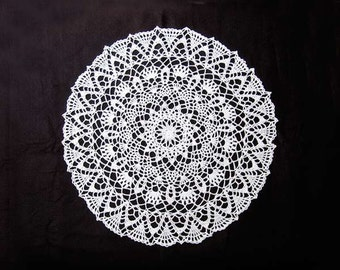 Elegant White Crochet Lace Doily, Large Table Topper, New Home Decor, Wedding Gift, Centerpiece Doily