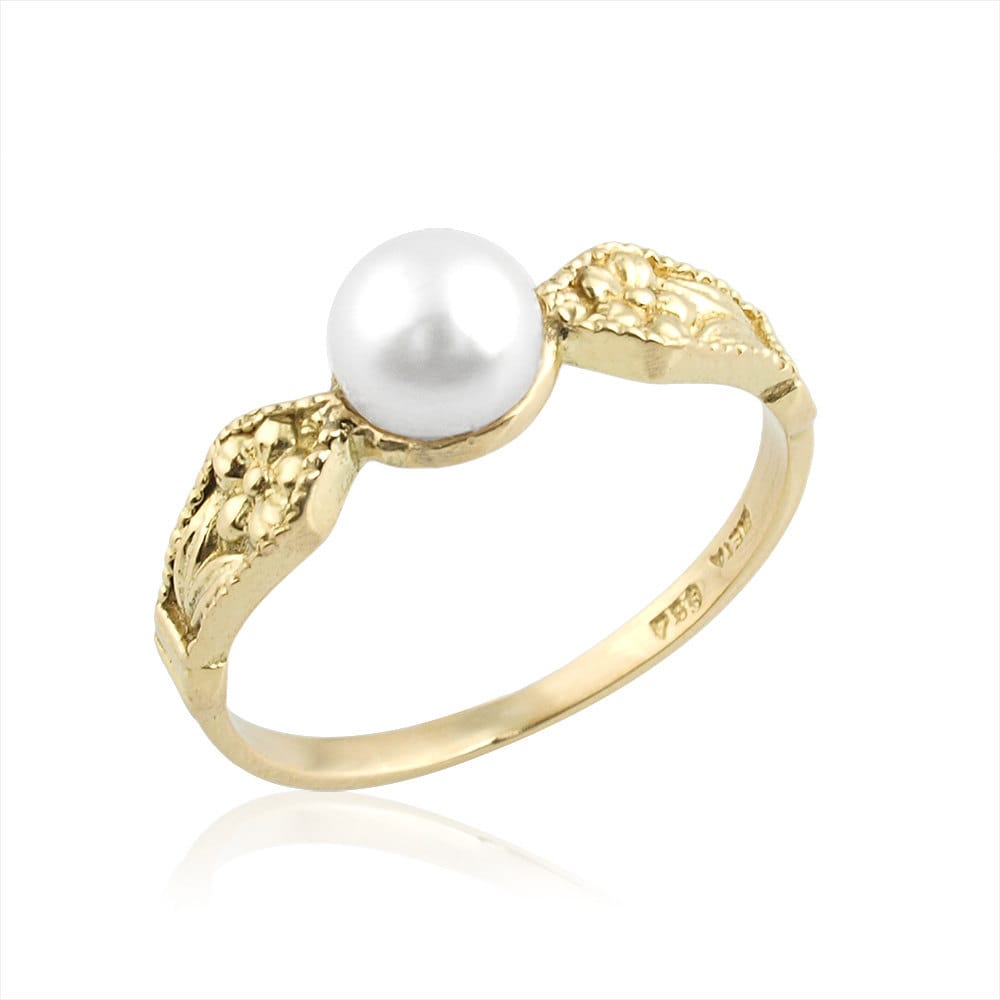 vintage russian inspired deco pearl ring pearl engagement