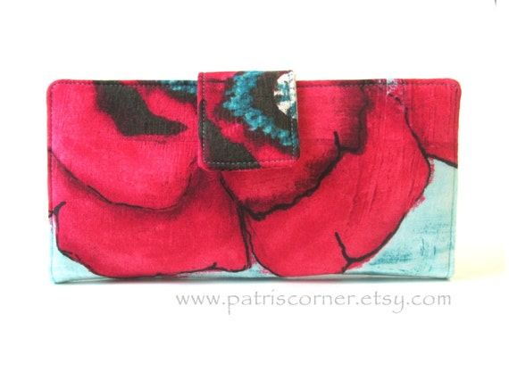 Ready to ship - Handmade women's wallet clutch Big red poppy flower on aqua background - ID clear pocket