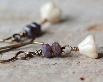 Czech Glass Flower Earrings Vintaj Natural Brass Jewelry Beaded Dangle Earrings Plum Berry Czech Glass Romantic Jewelry Under 20