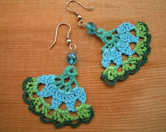 green and turquoise crochet earrings