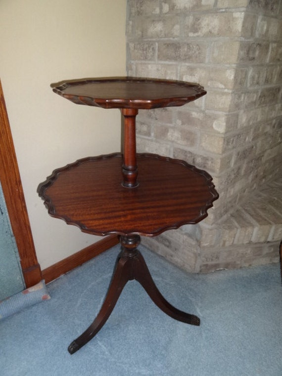 Antique mahogany wood two tier pie shaped side table