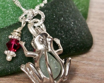 Birthstone Frog Seaglass Pendant - Sea glass Frog Necklace Locket Beach Glass Jewelry Handmade, Custom Jewelry