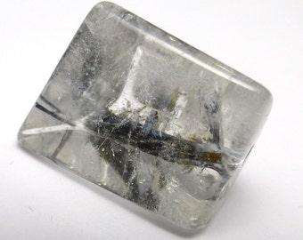 Rutilated Quartz Black Inclusions Loose Gemstone Handmade Hand Cut One of a Kind Cabochon Big Statement Ring Stone