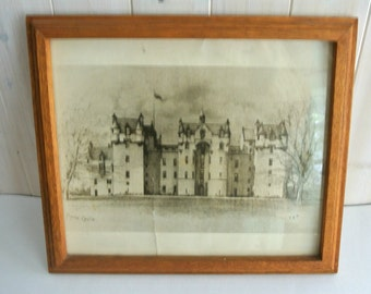 Vintage FYVIE Castle Pen & Ink Print-Framed-Signed