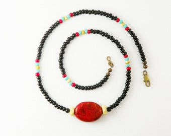 Red Coral  Necklace / Natural  Stone  /  Rustic Western /  Red Black  / Boho Chic