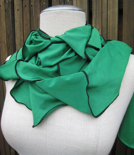 Bright green color seaweed scarf plus made in USA