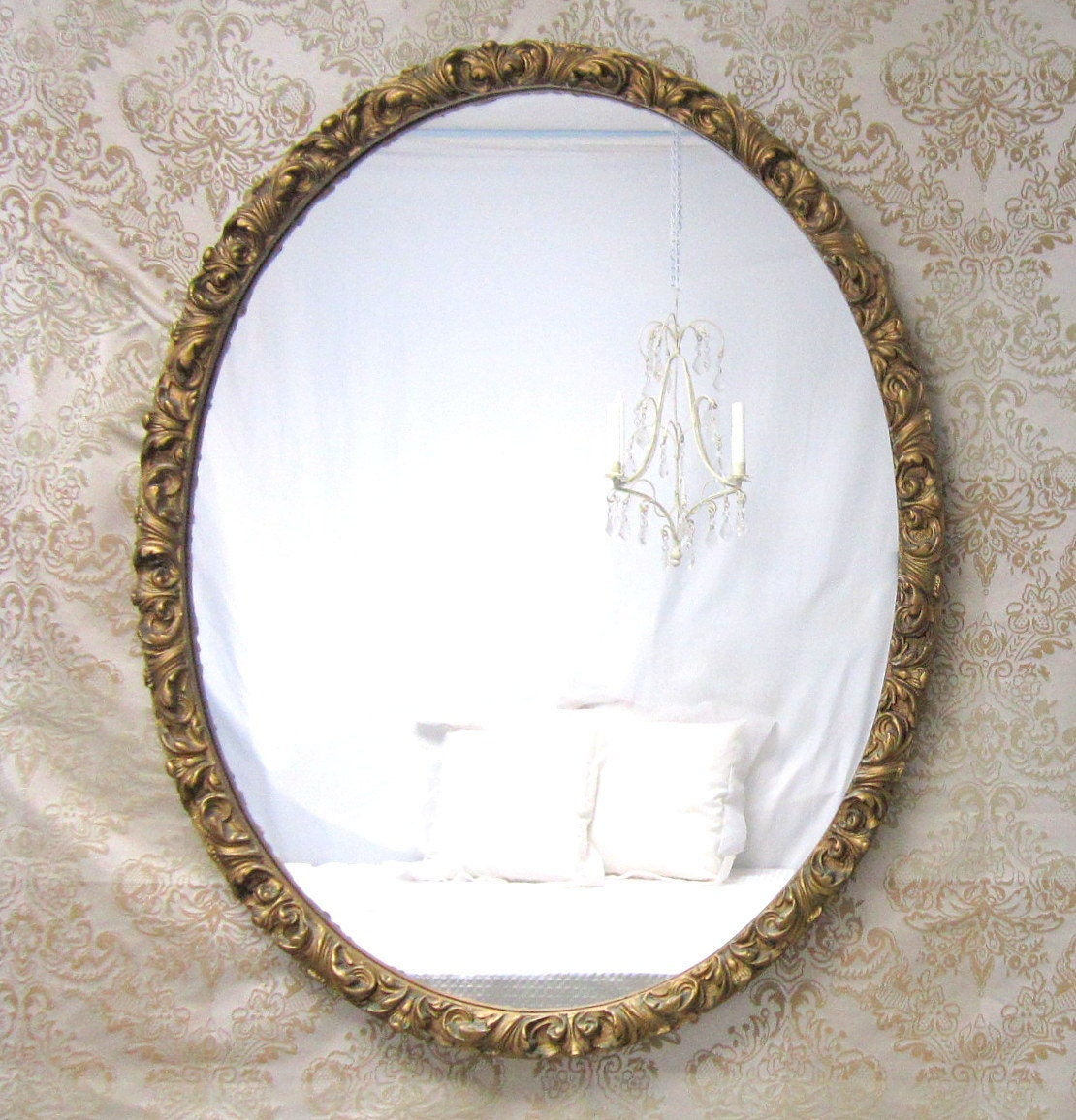 Decorative antique mirror for sale large oval by for Decorative wall mirrors for sale
