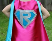 PERSONALIZED Girl Birthday Gift - Sparkle Giri SUPERHERO CAPE - Customize with your child's initial - Kid Costume