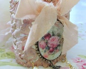 RESERVED - Shabby Rose Cuff - Shabby Rose Statement Cuff - Pink Shabby Cuff