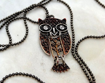 The Gilded Owl Pendant - Moveable Parts - Rich Colors