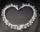 Vintage Faceted Large Teardrop Briolette Clear Crystal and Rhinestone Necklace