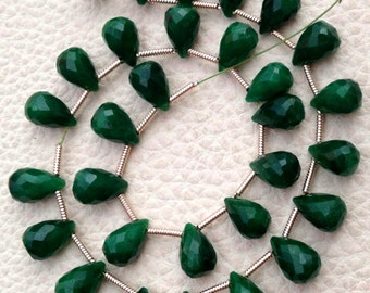 New Arrival, 20 Pieces APRX. Dyed Natural EMERALD Faceted Drops Shape briolettes,9-10mm Long, Finest Item
