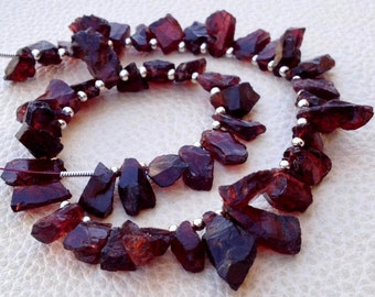Brand New, Amazing GARNET Hammered Rock Nuggets Tip Drilled ,8-10mm,Full 8 Inch Strand,Amazing Rare Item