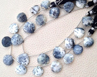 RARE, AAA Grade Dendritic OPAL Faceted Heart Shape Briolettes, Full 8 Inch Strand, 14-15mm Long,Great Price