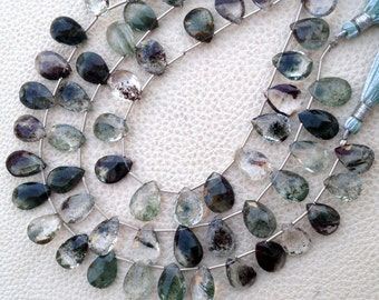 AMAZING Rare GARDENLITE Faceted Pear Shape Briolettes, 1/2 Strand, Very-Finest RARE Quality 11-12mm Long size.