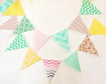 Shabby Chic Banner, Bunting, Fabric Pennant Flags, Girl Nursery, Photo Prop, Birthday Party, Baby Shower, Wedding Garland Pink, Yellow, Mint