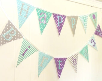 Happy Birthday Bunting, Happy Birthday Banner, Fabric Pennant Flags, Purple, Mint, Blue, Ice Cream, Prop, Party Garland, Happy Birthday Sign