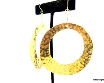 Large gold hoops, very large hammered circle circle, modern brass jewelry, gift under 50