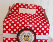 Red and White Polka Dot Take Out Party Boxes with Matching Favor Tags and ribbon- (12) Minnie Mouse favor box Mickey Mouse favor box