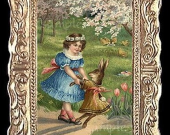 Easter Bunny Dance Miniature Dollhouse Art Picture 6831