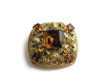 Vintage Gold Brooch, Vintage Rhinestone Brooch, Filigree Brooch, Vintage Square Pin, Square Brooch, Brown Rhinestone Pin