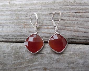 Deep orange chalcedony earrings in sterling silver