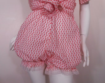 Vintage BABY DOLL Pajamas Sheer BLOOMERS Atomic White Red Embroidery Top Panties Set 1960's Sheer Baby Dolls Heart Lace Pin Up Burlesque S M
