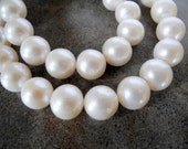 Large White Freshwater Pearls  11mm Round Half Strand