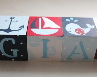 Personalized Baby Name Blocks- NAUTICAL Theme
